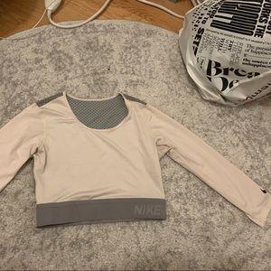 White Gray Nike Athletic Long Sleeve Mesh Crop Top